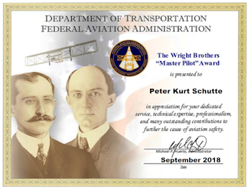 Pete Schutte, FAA Wright Brothers Master Pilot Award